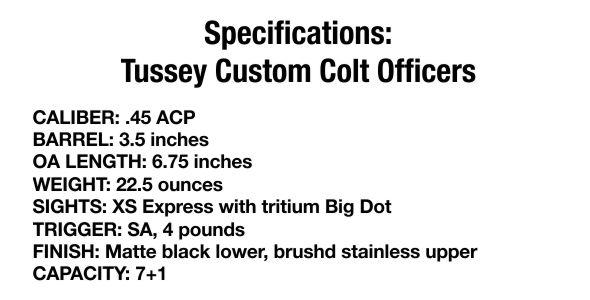 Specification: Tussey Custom Colt Officer's